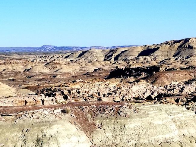 Wyoming Landscape The Great Divide Adobe Town Red Desert Erosion Effects Clear Sky Desert Arid Climate Sunlight Sky Landscape Rocky Mountains Rugged Geology Eroded Rock Formation Rock Hoodoo Rock Extreme Terrain Barren Sandstone