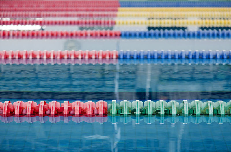 Close-up of multi colored swimming pool