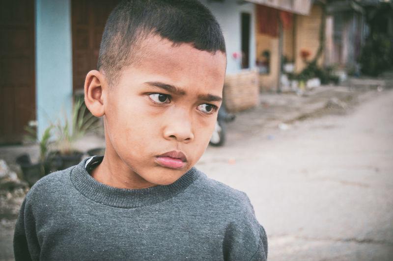 Close-up portrait of a teenage boy