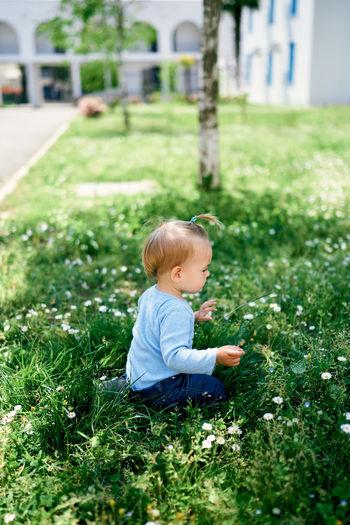 Baby girl on field