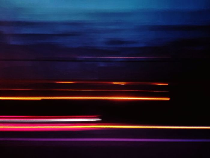 Abstract Night Striped Neon On The Road Lightpainting Light Painting Long Exposure Light Trail Speed Motion Blurred Motion No People Illuminated Multi Colored Mode Of Transportation
