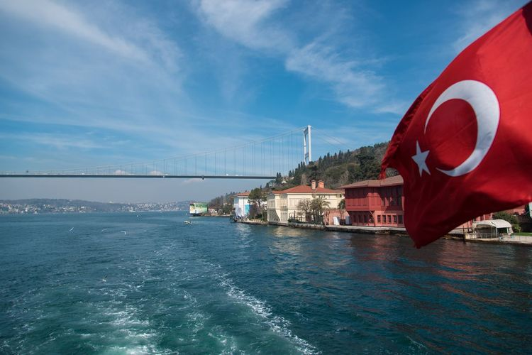 Turkish flag Sky Water Architecture Transportation Nautical Vessel Built Structure Day Outdoors No People Sea Beauty In Nature
