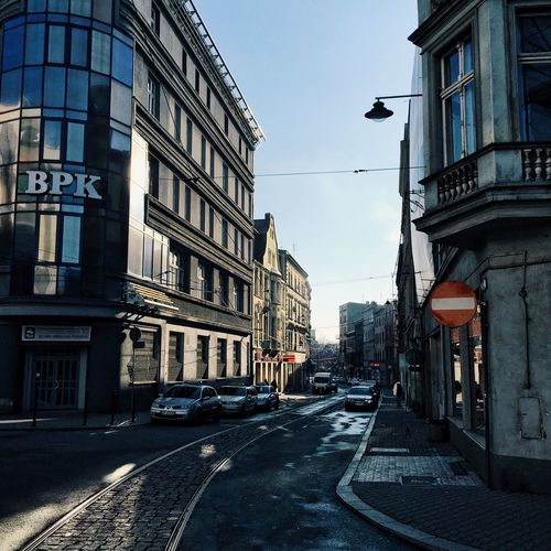 City street along buildings
