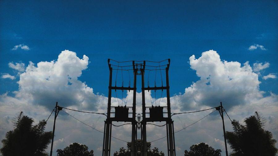 Mirror Sky Cloud Electric Pole Electric Lines Blue