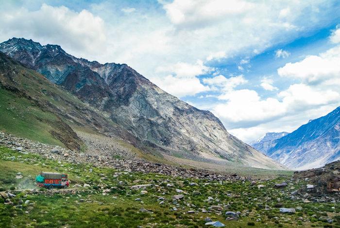 Landscape 'suru valley' on the way from Kargil to Zanskar India Jammu And Kashmir Ladakh Landscape Leh Leh Ladakh.. Mountain Nature Suru Valley Travel Truck