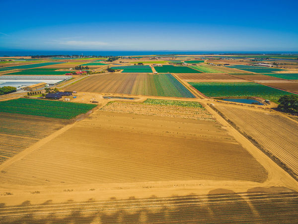 Scenic aerial landscape of plowed fields and crops near ocean coastline on bright summer day. Werribee South, Victoria, Australia Agriculture Australia Australian Landscape Coastline Drone  Field Werribee Aerial Aerial Landscape Aerial Panorama Aerial View Agricultural Land Agriculture Beauty In Nature Day Drone Photography Field Landscape Melbourne Nature No People Outdoors Patchwork Landscape Plowed Field Rural Scene Scenics Sky Summer Tranquil Scene Tranquility