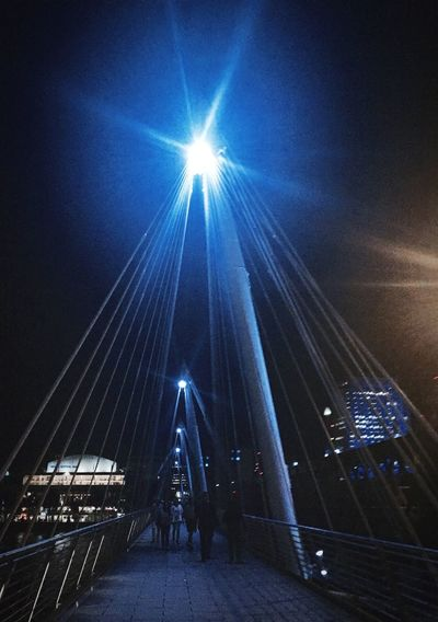Architecture Built Structure Connection Bridge - Man Made Structure Suspension Bridge Engineering Sky Modern The Way Forward City Life Bridge Cable-stayed Bridge Sun Blue Sunbeam Long Diminishing Perspective Person Tourism Outdoors Waterloobridge Night Photography Bright Light London