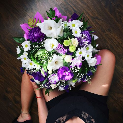 Flowers Girl Happy Congratulations Present Compliment Violet Young Woman Fragnance Beauty In Nature Nature