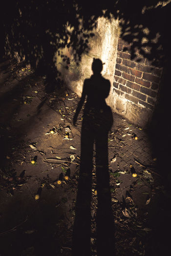 High angle view of silhouette person standing on footpath
