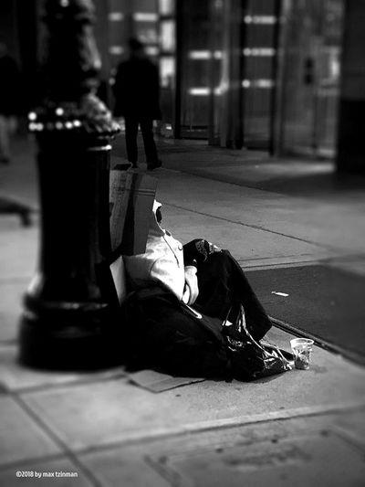 Night monochrome photography Nightshot Night Photography Nightphotography Night Beggar Vertebrate City Sidewalk Incidental People Real People Street