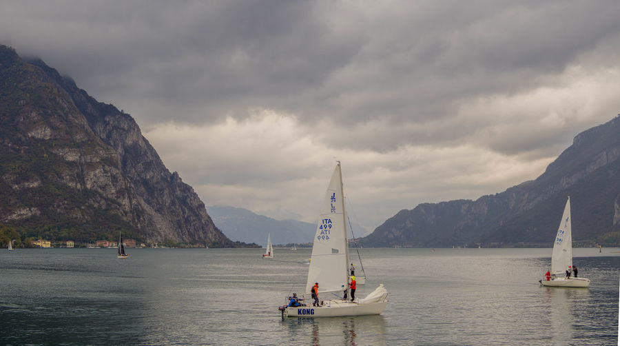 Nautical Vessel Transportation Water Mountain Sky Mode Of Transportation Cloud - Sky Sea Waterfront Beauty In Nature Sailboat Nature Scenics - Nature Day Mountain Range Sailing Travel Outdoors Como Como Lake Boats Lake View Italy