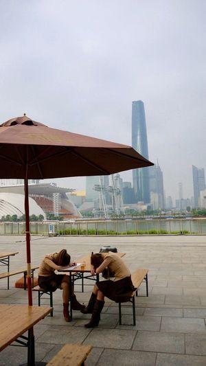 China Chinese Girls City Life Daydreaming Girls Guangzhou Nap Need A Rest Skirt Skyscrapers Umbrella