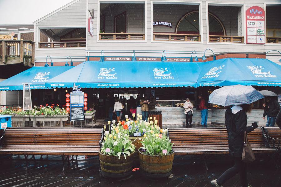 Bench City Flowers People Pier Rainy Travel Umbrella