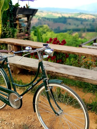 Bicycle on grassy field by fence