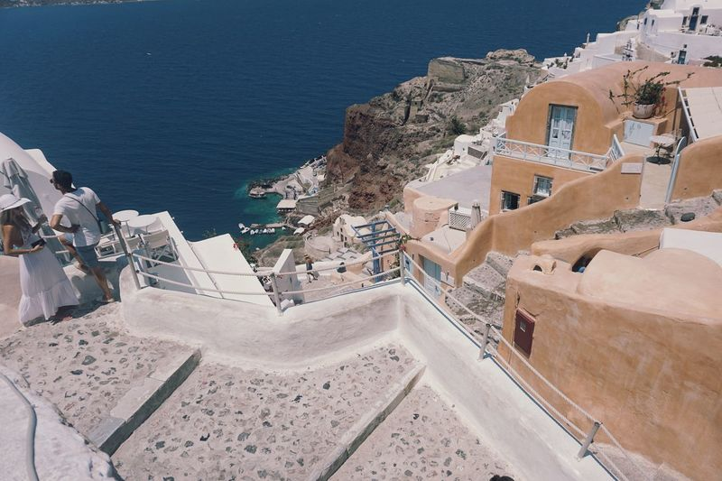 High angle view of buildings at seaside