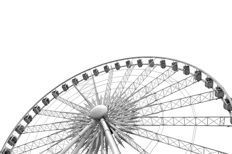 Architecture Architectural Detail Lines, Shapes And Curves Horizontal Ride Travel Fun Big Wheel Ferris Wheel Skywheel Amusement Park Amusement Park Ride Ferris Wheel Sky Arts Culture And Entertainment Low Angle View No People Clear Sky Outdoors Nature Large Copy Space Carnival Fairground Shape Leisure Activity Circle Traveling Carnival Geometric Shape