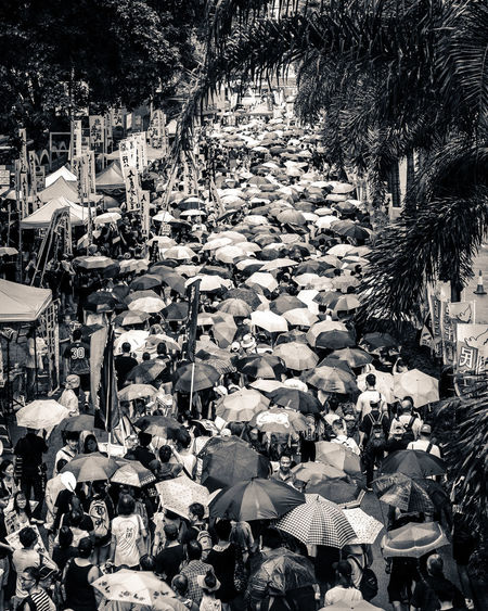 July 1st demonstrations in Hong Kong Anniversary Black And White China Crowd Day Demonstration Handover Hong Kong July 1st Men Outdoors People Protest Rainy Day Street Tree Umbrella Umbrellas Adventures In The City