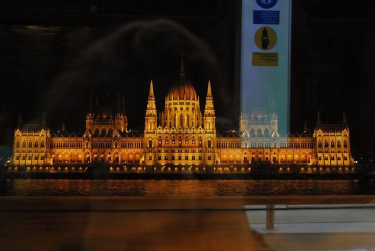 Illuminated building lit up at night