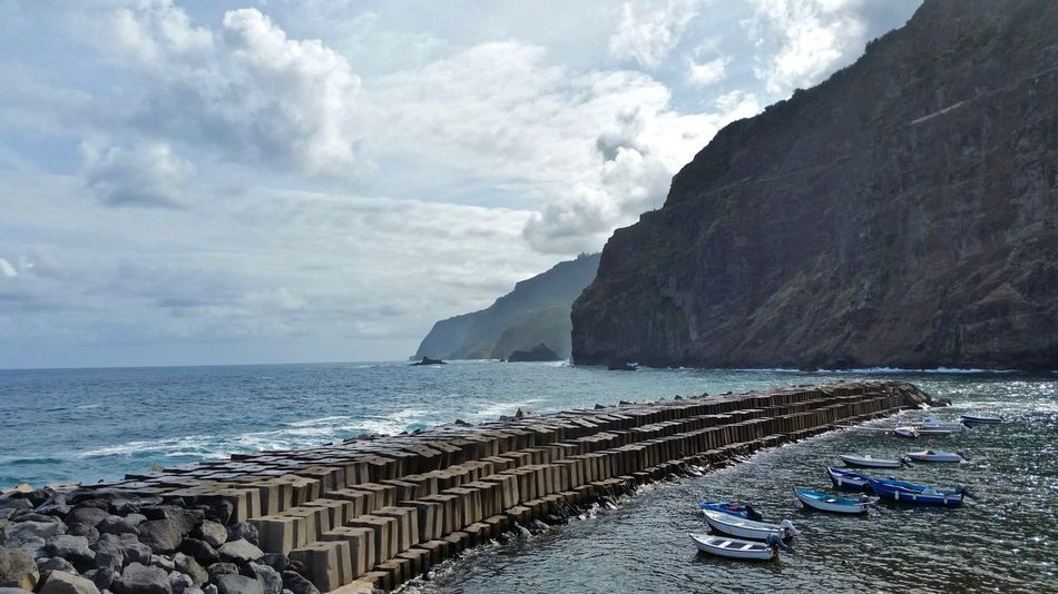 Harbor Madeira Madeira Island Portugal Rough Sea Beauty In Nature Boats Cliff Clouds Dam Island Mountains Rocks