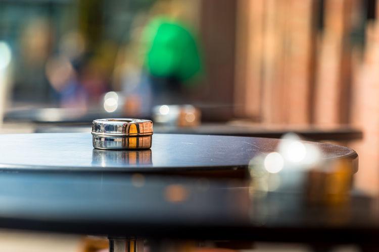 Ashtray on table