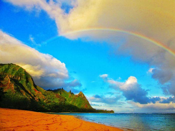 Sky Tranquil Scene Beach Tranquility Scenics Water Beauty In Nature Sea Rainbow Cloud Nature Shore Blue Majestic Multi Colored Coastline Calm Remote Solitude Cloud - Sky Kauai Wainiha Tunnels Beach Hawaii Waterfront