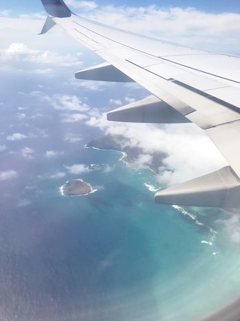 Hawaii, Home 🏝 Oahu Hawaii EyeEm Selects Air Vehicle Airplane Cloud - Sky Sky Aircraft Wing Day Beauty In Nature Water Travel Flying Mid-air Aerial View Outdoors