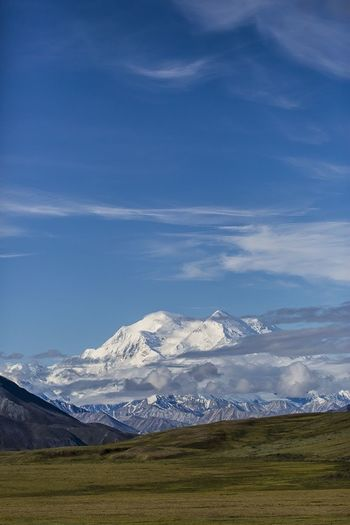 "Lucky me... ""The big one"" is lookin' out of the clouds... Landscape The Traveler - 2015 EyeEm Awards Alaska USA Canon 5d Mark Lll The Great Outdoors - 2015 EyeEm Awards Denalinationalpark Mt McKinley Mountains Mountains And Sky"
