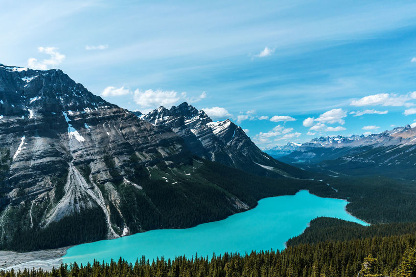A breathtaking view of Peyto Lake from Bow Summit. It was worth the hike! Bow Summit Peyto Lake Beauty In Nature Canada Day Glacier Lake Landscape Mountain Mountain Range Nature No People Outdoors Scenery Scenics Sky Summer Been There.