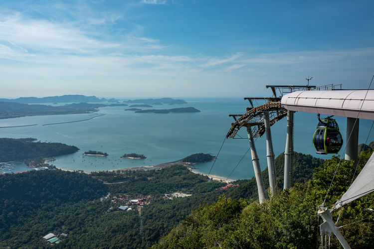 Langkawi Water Sky Tree Sea Architecture Scenics - Nature Built Structure Beauty In Nature Transportation Nature Mountain Cloud - Sky Plant High Angle View Day No People Building Exterior Mode Of Transportation Travel Outdoors Bay Skycab