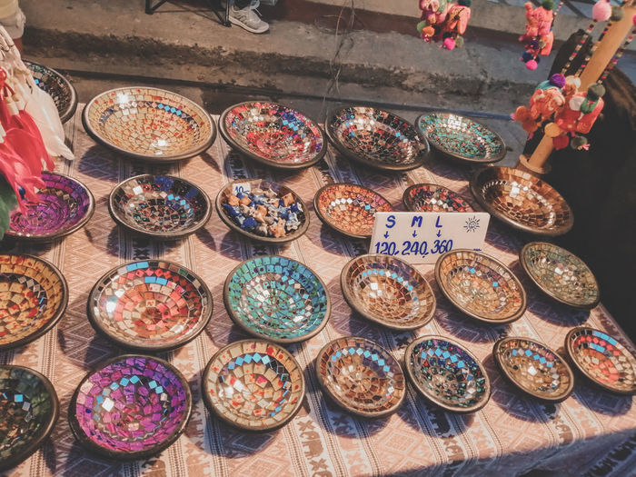 High angle view of candies for sale in market