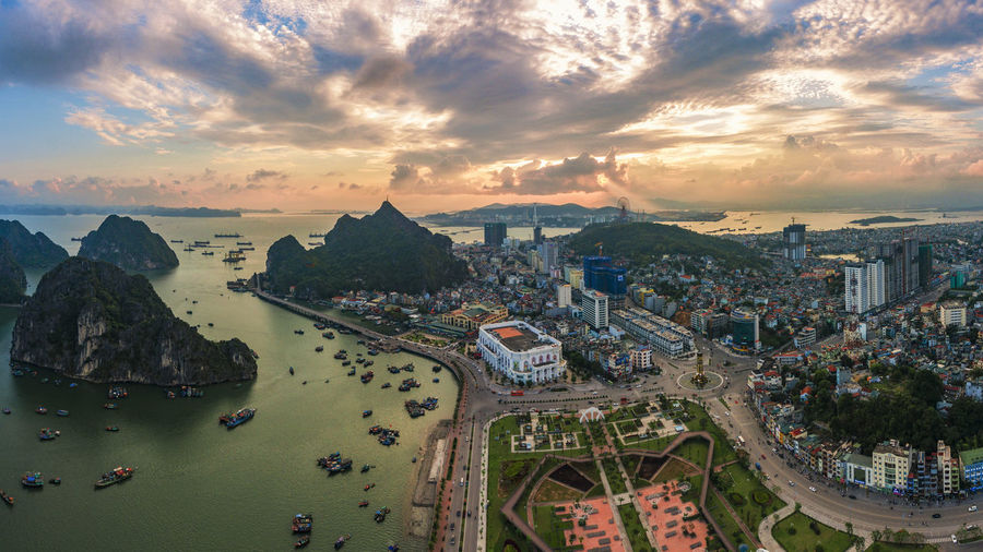 Ha Long Bay Ha Long City Sky Cloud - Sky Building Exterior Architecture Built Structure City Nature Water High Angle View Sunset Cityscape Sea Transportation Scenics - Nature Aerial View Outdoors Building