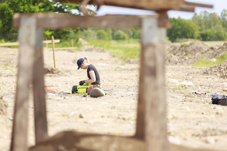 Children playing on field