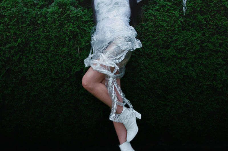 Wrapped EyeEmNewHere Featureme Dress Fashion The Fashion Photographer - 2018 EyeEm Awards Clothing Creative Design Fashion Photography Green Color Human Leg Melancholy Mysterious Photographer Shoes White Color Women Wrapped In Foil First Eyeem Photo