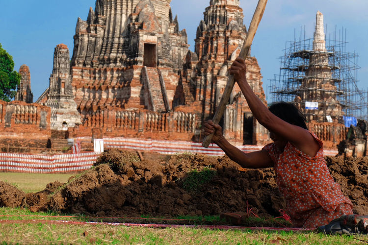 Young Girl Archaeologist in Chaiwattanaram temple Travel Destinations One Person People Adult Sky Human Body Part Outdoors Architecture Day Adults Only Girl Power Archaeological Sites Archaeogical Site World Heritage Site Ayutthaya | Thailand Thailand🇹🇭 Excavation Excavator Thailand Trip