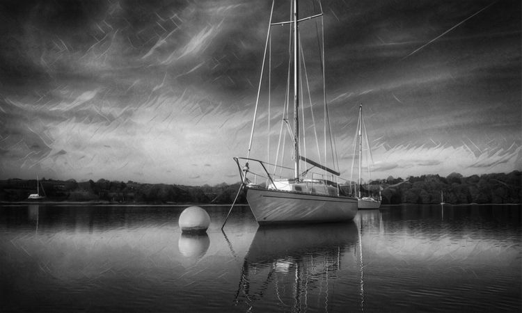 Nautical Vessel Transportation Boat Water Moored Mode Of Transport Sky Tranquility Tranquil Scene Reflection Nature No People Beauty In Nature Sailboat Blackandwhite Waterfront