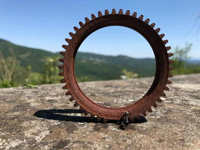 No People Day Nature Sky Shape Close-up Metal Focus On Foreground Geometric Shape Land Circle Wheel Field Scenics - Nature Rusty Machinery Outdoors Tire Sunlight Transportation