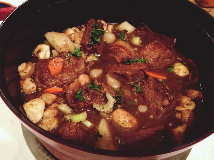 French Classic Dutch Oven Beef Bourguignon Boeuf Stew Cast Iron Food Slow Cooking
