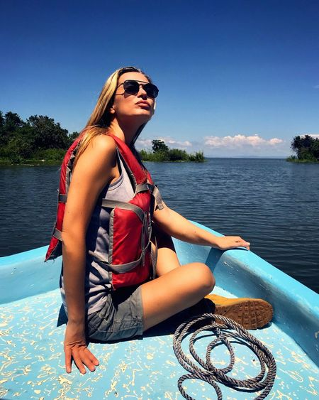 Water Young Adult Sunglasses One Person Leisure Activity Real People Lifestyles Beautiful Woman Outdoors Beauty In Nature Day Nature Nautical Vessel Sky Sailing Tree Nautical Equipment Nautical Theme Energetic Determination Scenics Tranquil Scene Sport Lake Nicaragua Nicaragua