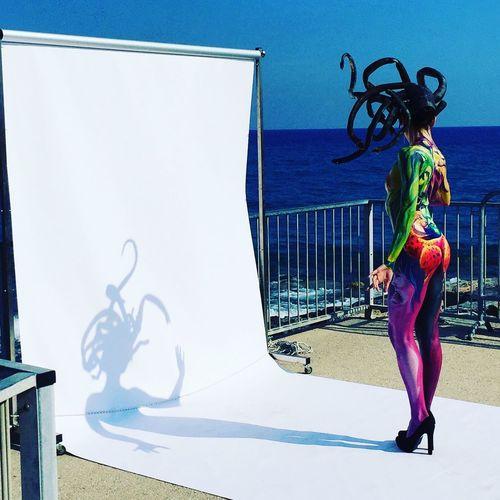 Medusa Medusa Medusa Head Shadow Bodypainting Full Length One Person Real People Sunlight Day Shadow Lifestyles Creativity