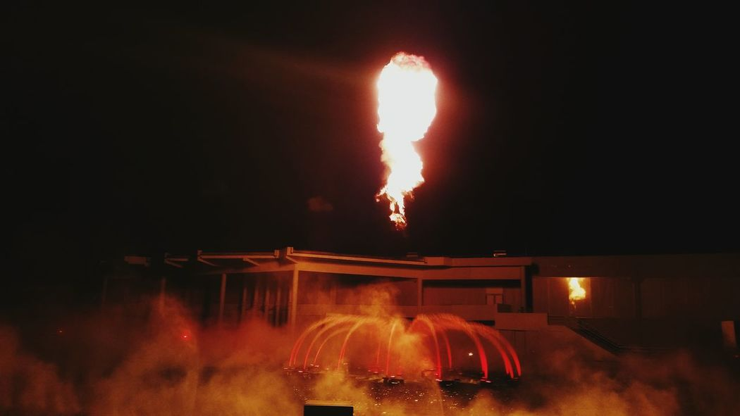 Night Photography Fireball Water Show Futuroscope
