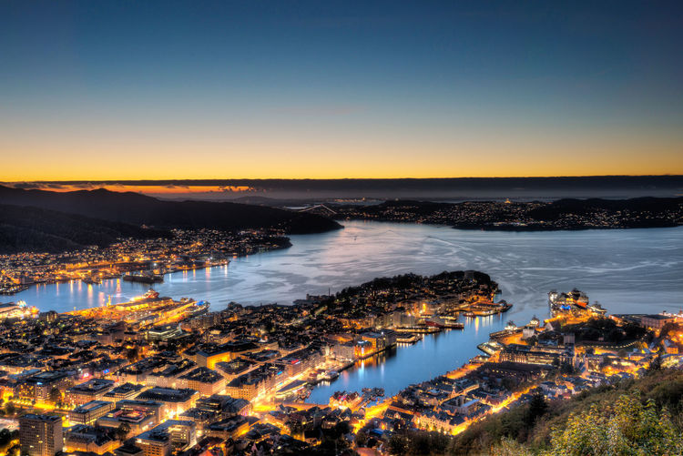 Beauty In Nature Bergen Blue City Cityscape Coastline Europe Fløyen Idyllic Illuminated Landscape Nature No People Norway Orange Color Outdoors Residential District Scenics Sea Sky Sunset Tranquil Scene Tranquility Travel Water