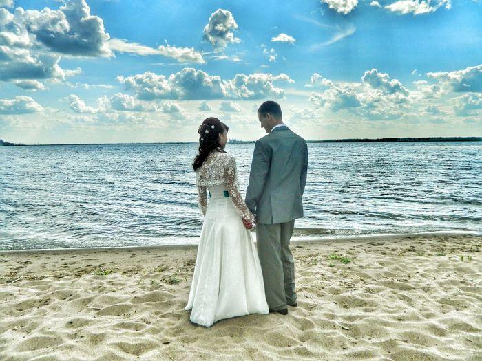 Wedding Happy Love Love Wife Romance Two People Beach Cloud - Sky Wedding Dress People Wedding