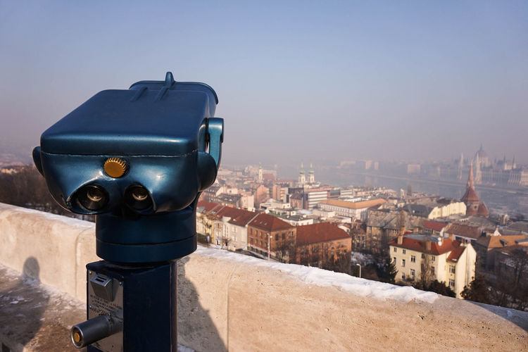 Binoculars Budapest City City View  Cityscape Citytrip Hungary Optical Instrument Outdoors Overlooking The City Telescope Travel Destinations Urban Skyline