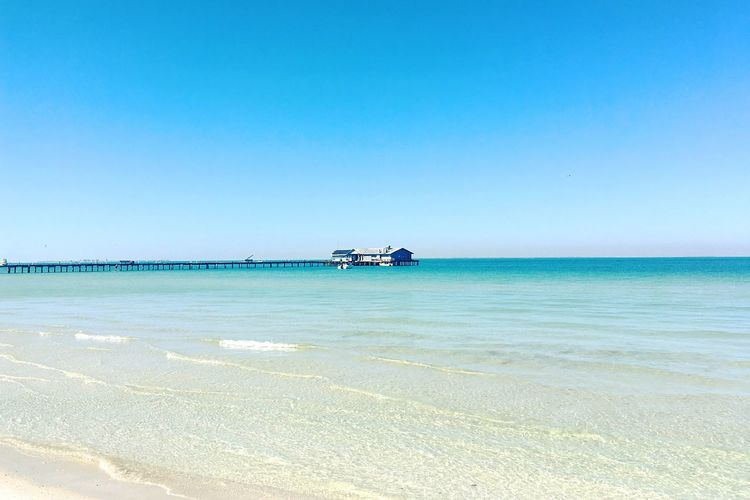 Tranquility Taking Photos Check This Out Hello World Water Florida Tampa Bay Gulf Of Mexico Anna Maria Island Pier Sea Beach Water Horizon Over Water Blue Sand Clear Sky Day Tranquility Nature Beauty In Nature Outdoors Tranquil Scene No People Scenics Sky