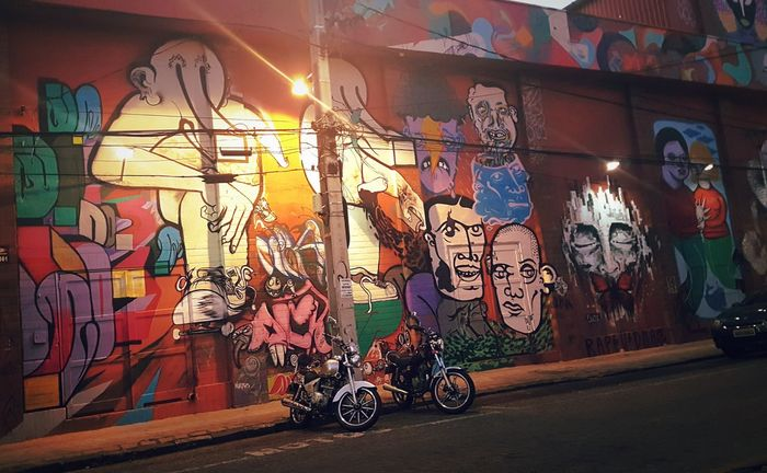 Transportation Architecture Graffiti Built Structure Mode Of Transport Art And Craft Land Vehicle Art City Street Building Exterior Creativity Multi Colored Outdoors City Life Footpath No People