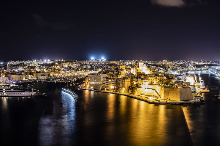 Valletta night Architecture Building Exterior Illuminated City Water Night Built Structure Cityscape No People River Reflection Sky Building Nature Transportation Travel Destinations Connection Bridge Outdoors Valletta Malta