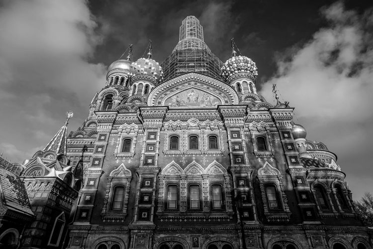 Building Exterior Architecture Built Structure Low Angle View Sky Cloud - Sky Place Of Worship Building Religion Travel Destinations Belief Spirituality Travel Tourism History City Nature The Past No People Outdoors Gothic Style Spire  Savior On The Spilled Blood Russia Blackandwhite