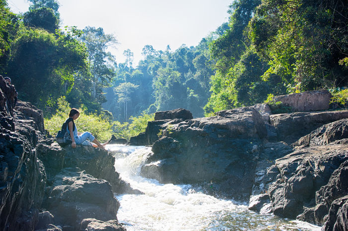 travel Khao Yai National Park Adventure Beauty In Nature Day Discovery Forest Landscape Nature Only Men Outdoors People Rock - Object Scenics Sky Stream - Flowing Water Tree Water Waterfall