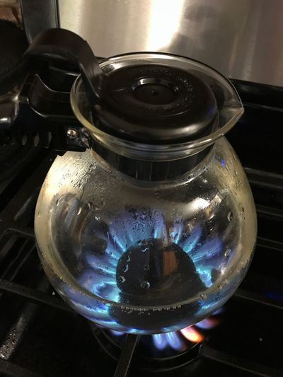 Time to start the day, Glass tea kettle, drink,Boiling water, clear, flame, colors, hot, fire