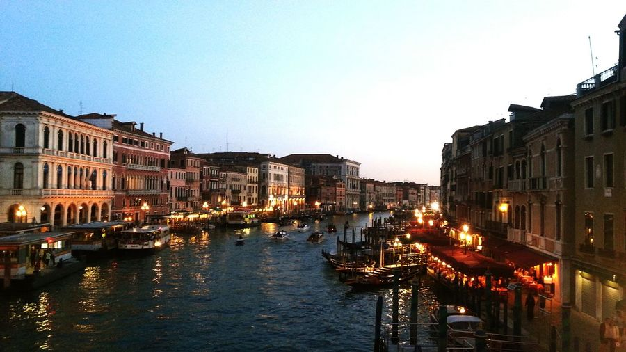 View of the Gran Canal from the Rialto bridge, Venice Venice Italy Gran Canal Venice Canals Night Night View Venice By Night City Lights Feel The Journey